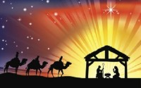 Illustration of traditional Christian Christmas Nativity scene with the three wise men