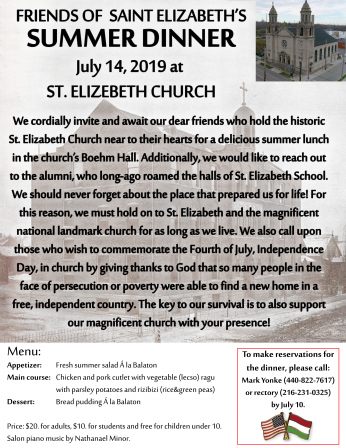 FRIENDS OF SAINT ELIZABETH'S SUMMER DINNER July 14, 2019