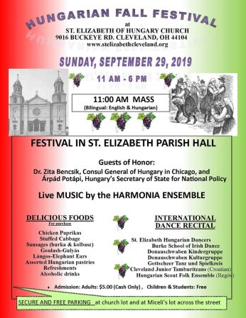 ST. ELIZABETH HUNGARIAN FALL FESTIVAL – SEPTEMBER 29, 2019