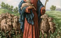 Vintage illustration of The Good Shepherd with Jesus holding a lamb; lithograph, 1930s. (Photo by GraphicaArtis/Getty Images)